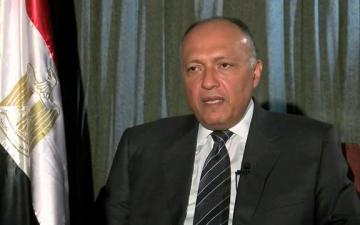 شكرى : الملف الفلسطينى مطروح بقوة فى مفاوضات السيسى وترامب