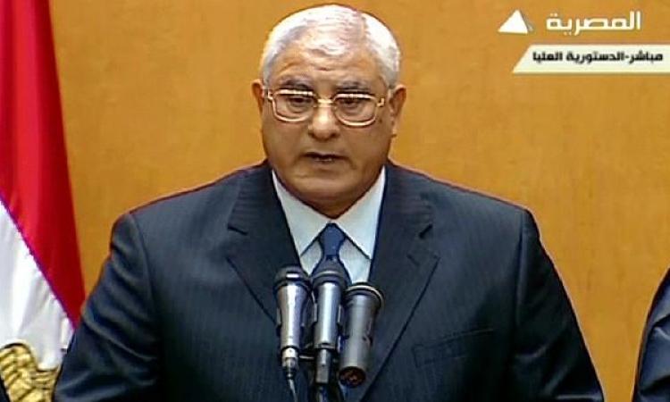 """بالفيديو …""""منصور"""" يعلن الانتخابات الرئاسية قبل البرلمانية"""