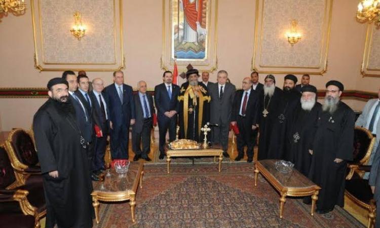 تواضروس يستقبل الرئيس اللبناني في الكاتدرائية المرقسية بالعباسية