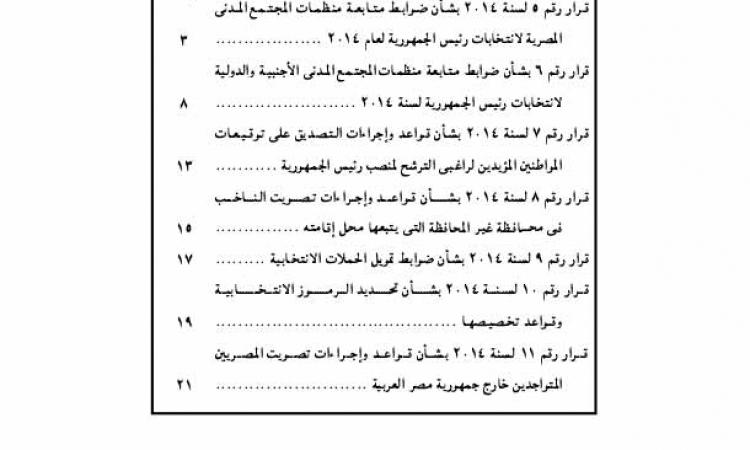 بالصور.. ننشر نصوص قرارات اللجنة العليا للانتخابات الرئاسية