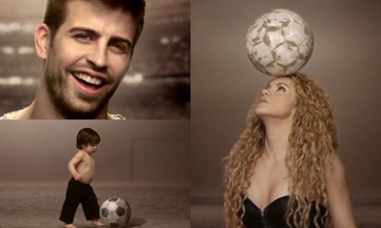 بالفيديو.. بيكيه يلقى الكرة وشاكيرا تتلقاها على صدرها