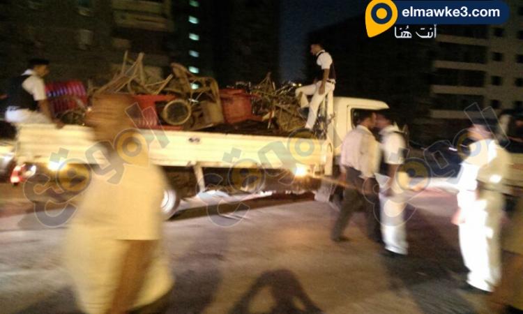 أمن العاصمة يقوم بحملة أمنية لرفع اشغالات الكافيهات