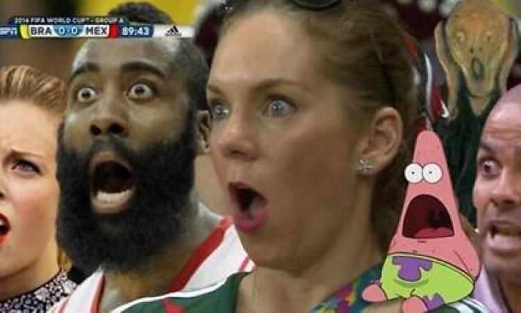 تعرف على المرأة المندهشة في مباراة البرازيل والمكسيك