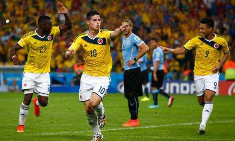 كولومبيا تتأهل إلى ربع نهائي مونديال البرازيل علي حساب أوروغواي