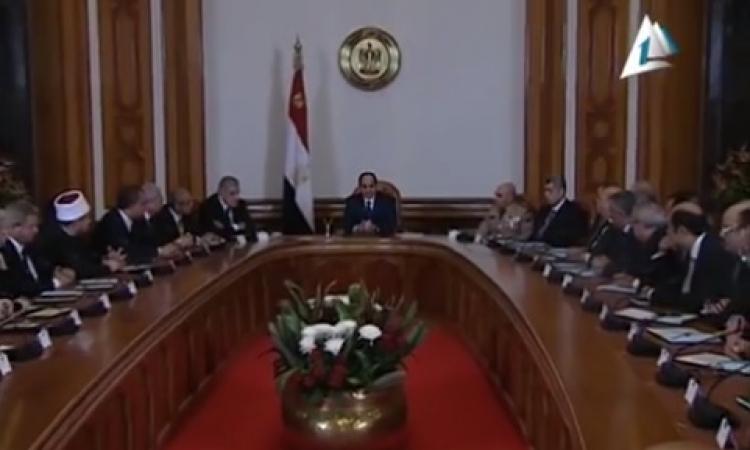 بالفيديو .. السيسي يترأس اول اجتماع لحكومة محلب