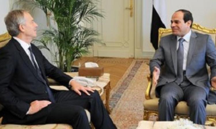 السيسي لبلير : اتصالات مصرية مع إسرائيل والفلسطينيين لوقف العنف