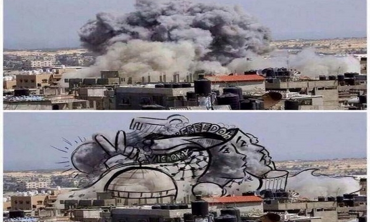 """بالصور..فنانون فلسطينيون يحولون القصف الاسرائيلي الى """" لوحات فنية """""""