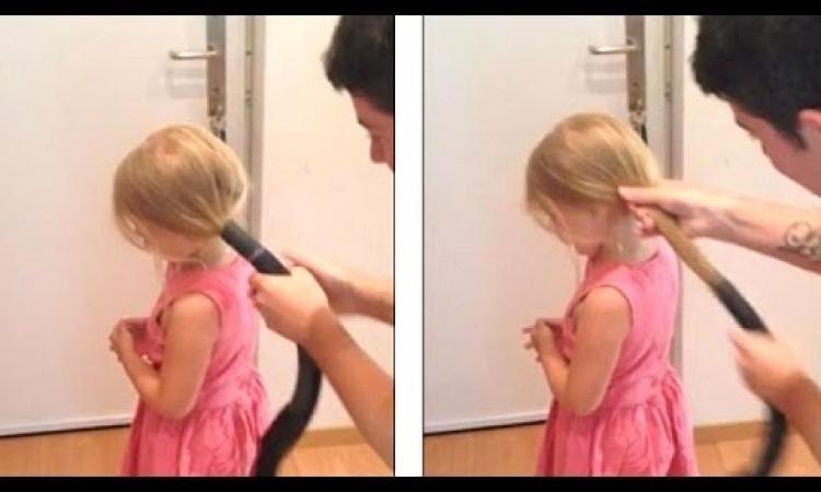 بالفيديو.. شاهد ما يحدث عندما يصفف الآباء شعر بناتهم