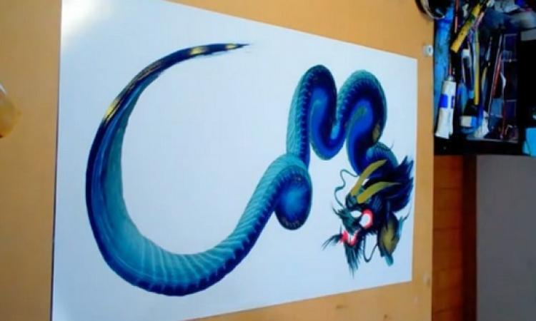 بالفيديو .. فنانين يرسمون بخط متصل دون رفع الفرشاة عن اللوحة !!