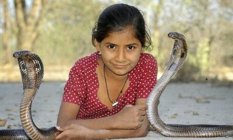 """بالصور .. طفلة تكسر القواعد وتتخذ """"الثعابين"""" أصدقاء لها !!"""