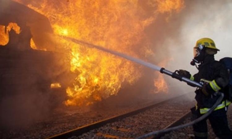 السيطرة على حريق قطار كمشوش بالمنوفية