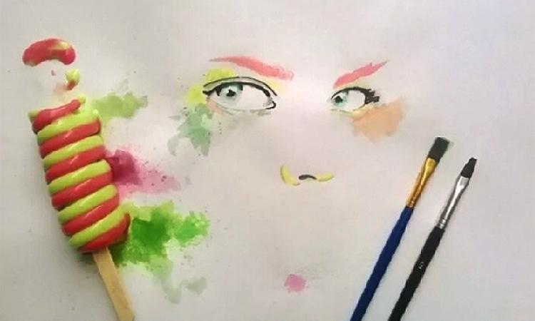 بالصور .. فنان يرسم بالأيس كريم