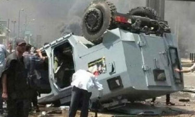 إصابة ضابط و3 مجندين فى انقلاب مدرعة شرطة بالعريش