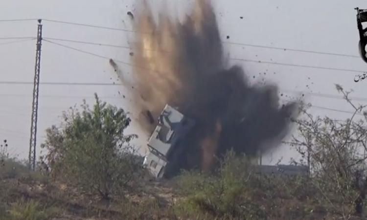 بيت المقدس تبث فيديو تفجير مدرعة رفح التي استشهد فيها ضابط وخمسة جنود