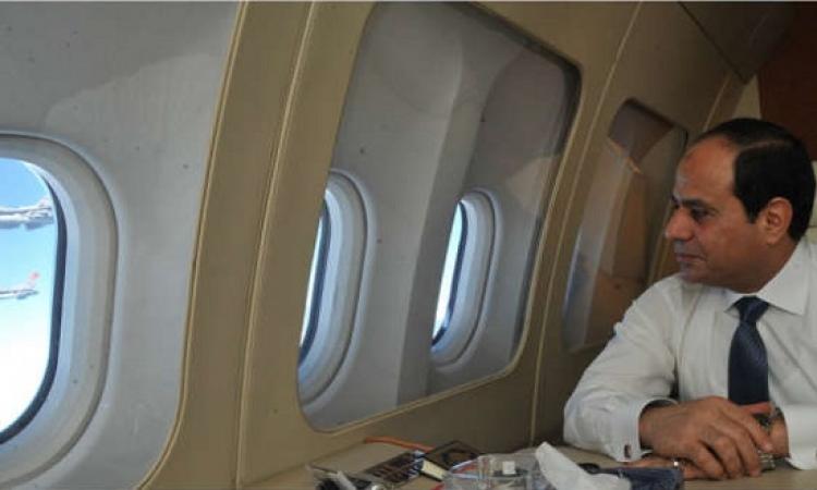 """طائرات السلاح الجوى المصرى  يستقبلون """"السيسى """"  عند عودته من  نيويورك"""