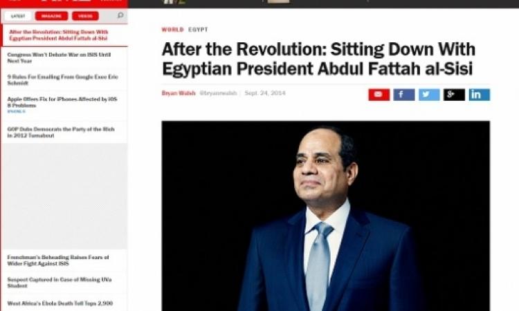 """السيسي لـ """" التايم """": لا مكان للإخوان في أي إنتخابات تُعقد في المستقبل"""