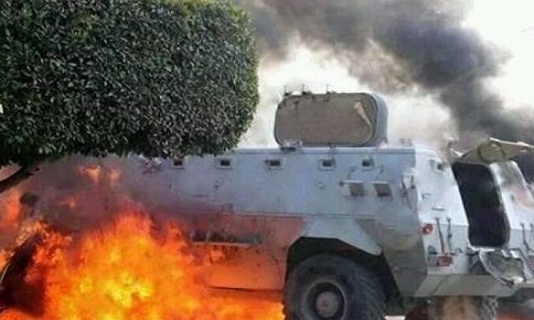 استشهاد ضابط و3 مجندين بالشيخ زويد إثر انفجار مدرعة