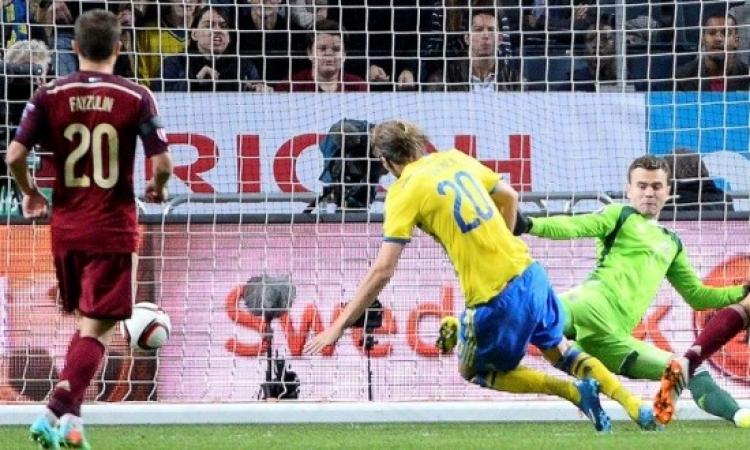 """روسيا تتعادل مع السويد في تصفيات """"يورو 2016"""""""