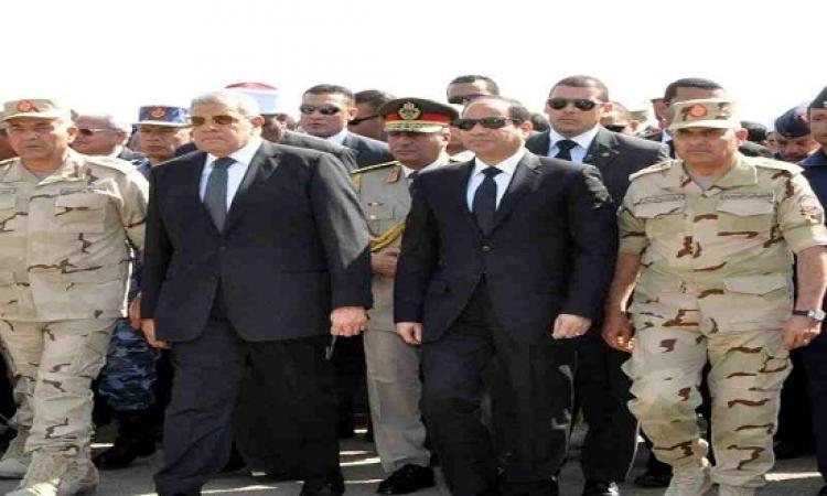 """بالصور .. الجنازة العسكرية لشهداء تفجيرات """" كرم القواديس """""""