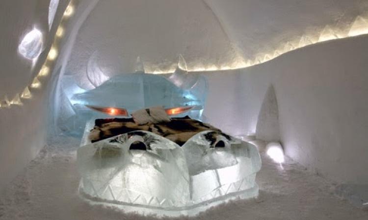 بالصور ..  فندق مصنوع بالكامل من الجليد يبنى سنوياً بالسويد!!