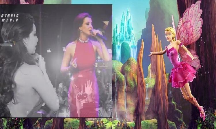 فيديو وصور.. نانسى عجرم تتألق فى باريس كجنية الفراشات بوالت ديزنى