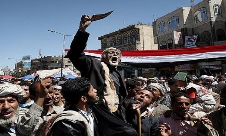 آلاف اليمنيين يتظاهرون أحتجاجا على الحوثيين فى صنعاء