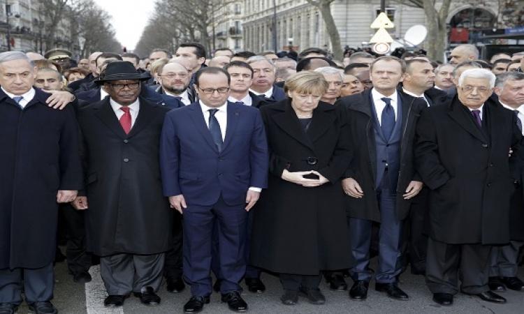 بالصور .. قادة العالم يتظاهرون ضد الإرهاب فى باريس