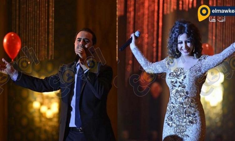 جنات و وائل جسار يحتفلان براس السنة فى فندق سميراميس
