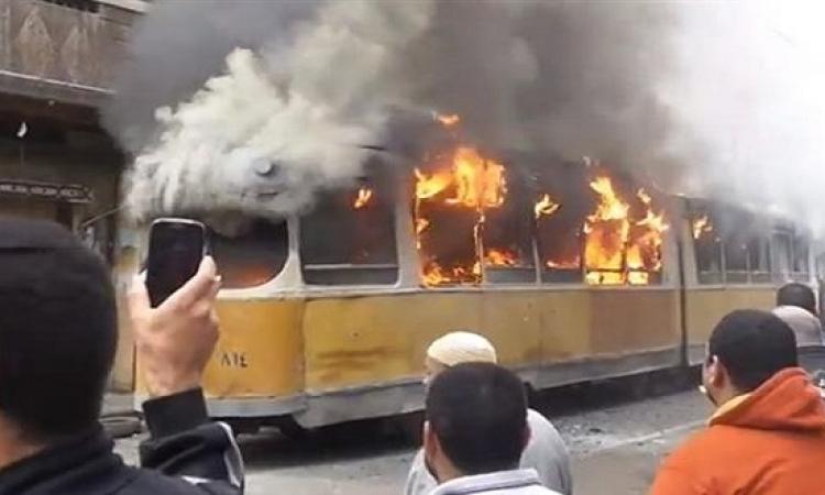 مجهولون يشعلون النيران فى ترام الإسكندرية دون وقوع إصابات