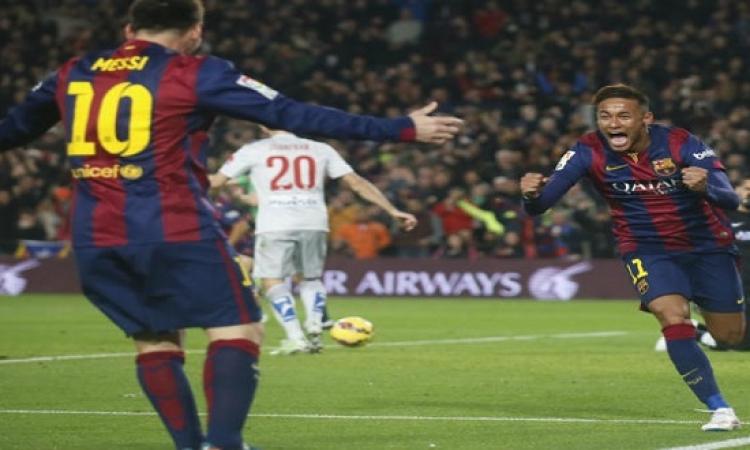 ميسى و نيمار و سواريز يقودون برشلونة إلى المركز الثانى فى الدورى الإسبانى