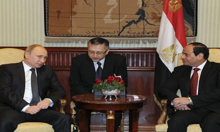 السيسى وبوتين يبحثان القضايا الاقليمية والدولية وتطورات عملية مكافحة الارهاب