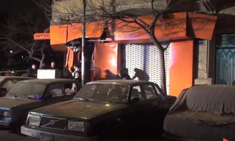 بالصور.. خسائر انفجار المنيل .. تهشم 4 سيارات وتحطم واجهة موبينيل