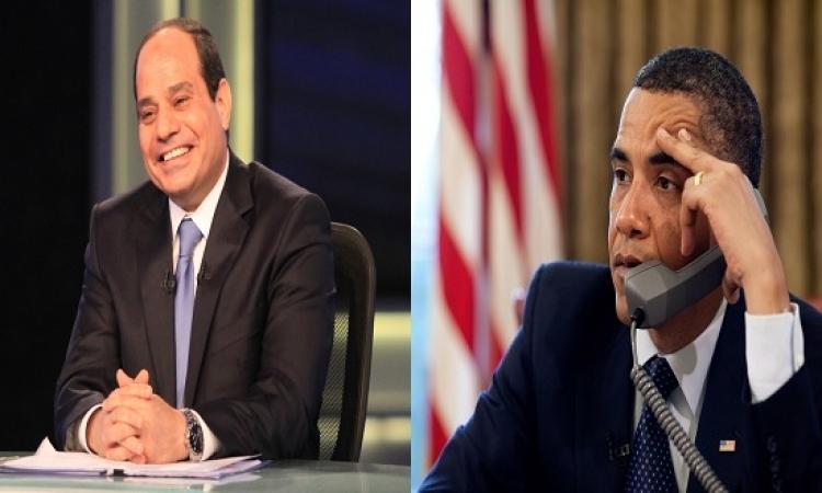 أوباما يبلغ السيسى هاتفيا باستئناف المساعدات العسكرية الأمريكية لمصر