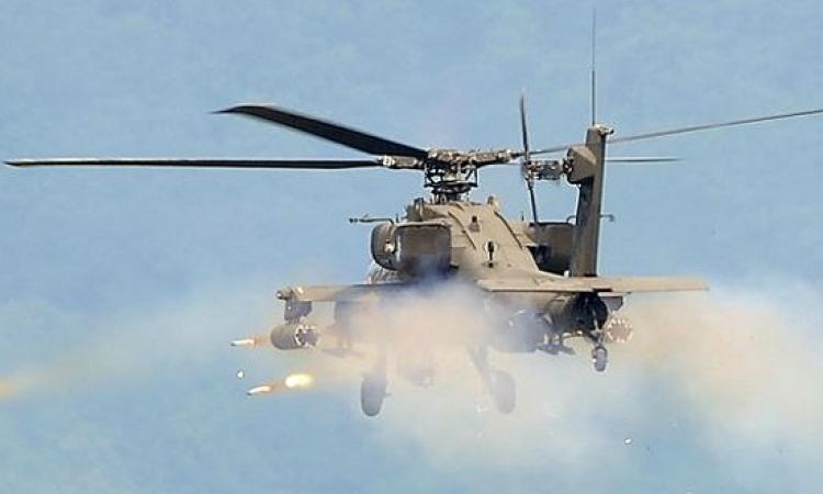 قصف بطائرات الأباتشى لمواقع إرهابية جنوب العريش
