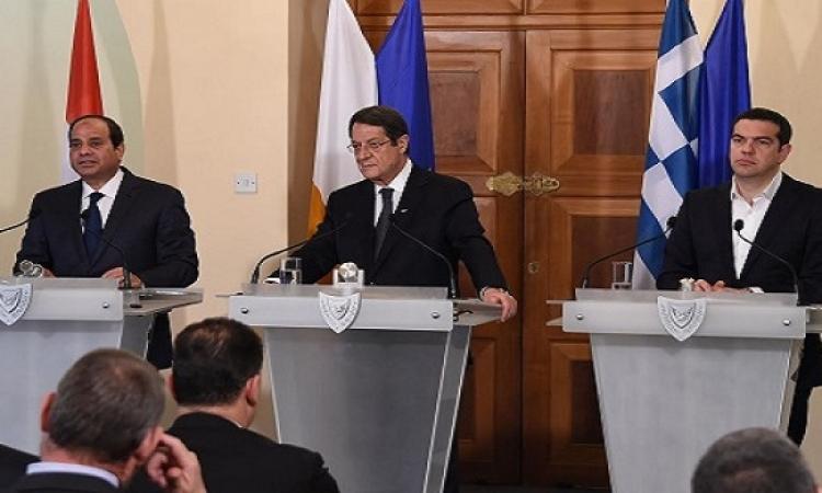 السيسى فى قمة نيقوسيا الثلاثية : رؤيتنا اتفقت مع قبرص واليونان على أهمية دحر الارهاب