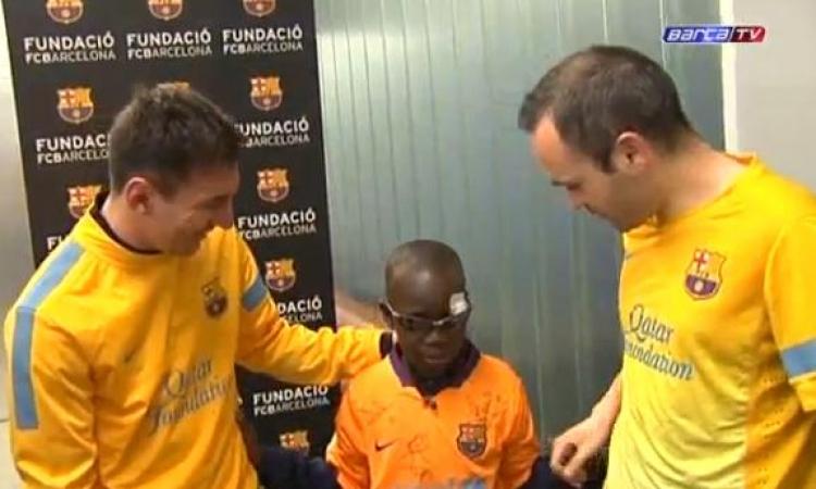 بالفيديو.. الطفل الكفيف الذى أبهر نجوم برشلونة