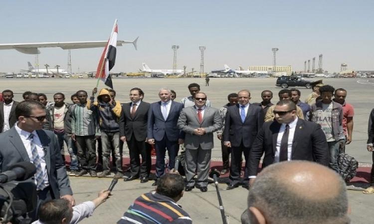 السيسى فى استقبال الآثيوبيين المحررين: الشكر لكل الأجهزة المساهمة فى الأمر