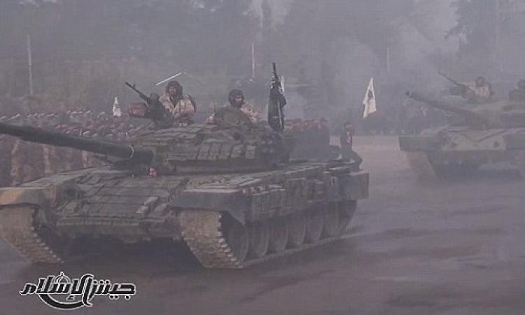 """بالفيديو .. """"جيش الإسلام"""" ينظم أكبر وأضخم عرض عسكرى فى سوريا"""