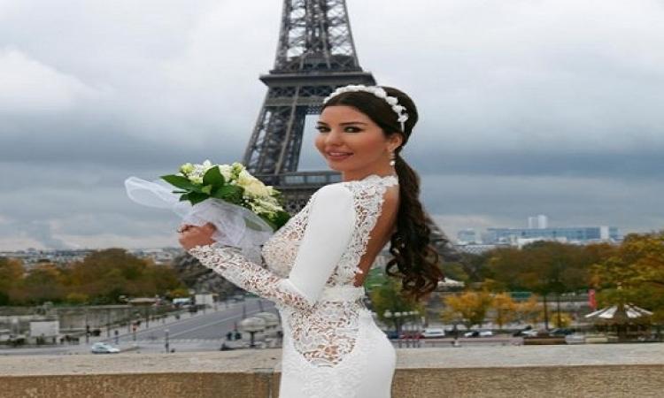 بالصور .. لاميتا فرنجية بفستان الزفاف مع زوجها .. عسل اوى!
