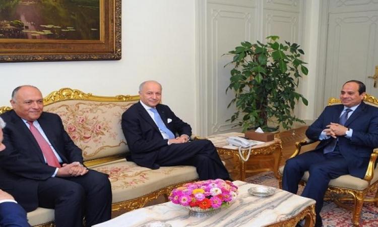 السيسى يستقبل وزير الخارجية الفرنسى لتناول القضايا الإقليمية