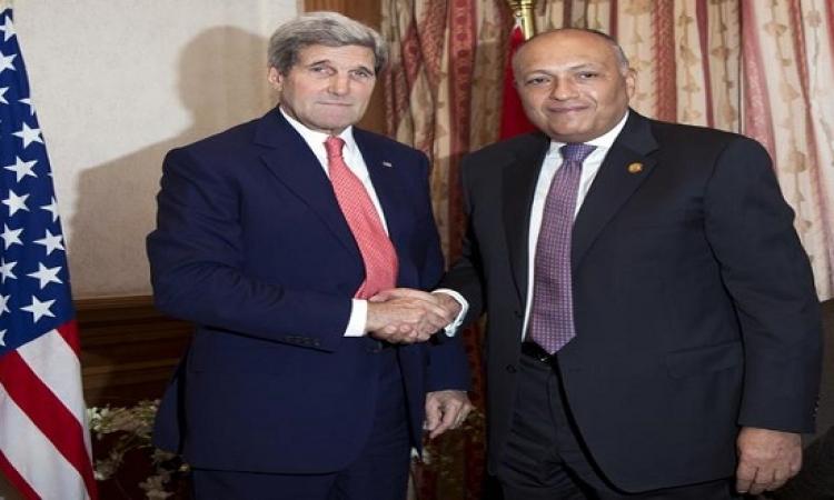 شكرى يؤكد لكيرى تقدير مصر لموقف واشنطن الداعم لبرنامج الإصلاح الاقتصادى
