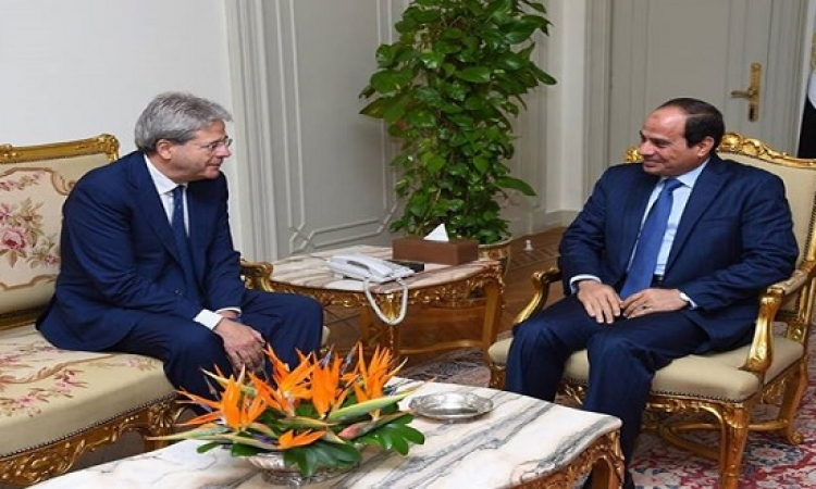 السيسى يستقبل وزير الخارجية الإيطالي