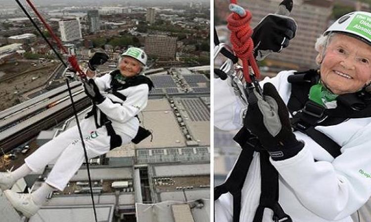 سنواتها الـ110 لم تمنعها من القفز من مبنى ارتفاعه 94 مترًا