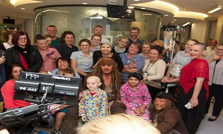النجم العالمى جونى ديب يزور مستشفىLady Cilento لمرض السرطان بأستراليا