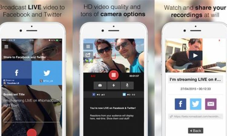 تطبيق لبث الفيديو مباشرة على فيس بوك وتويتر