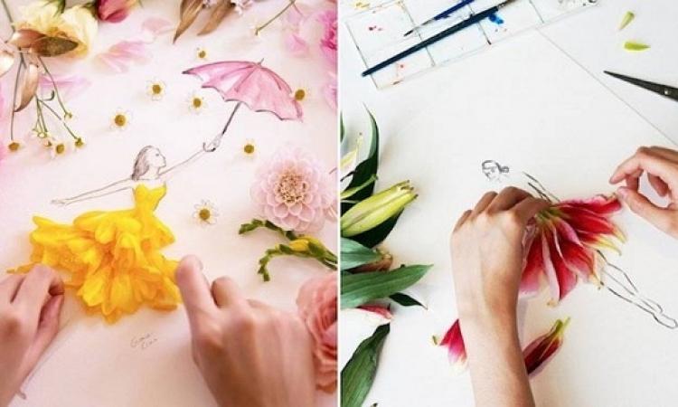 مصممة أزياء تعتمد على أوراق الزهور فى رسم تصميمات الأزياء