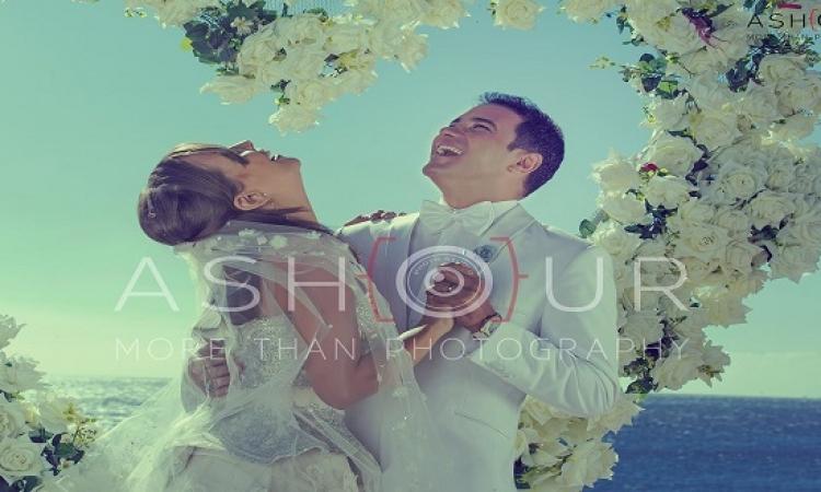 بالصور .. إيمان العاصى ومحمد رجب فى جلسة تصوير حفل زفاف