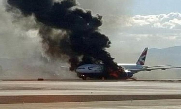 بالفيديو والصور .. نجاة ركاب طائرة بريطانية اشتعلت فيها النار .. ربنا ستر !!