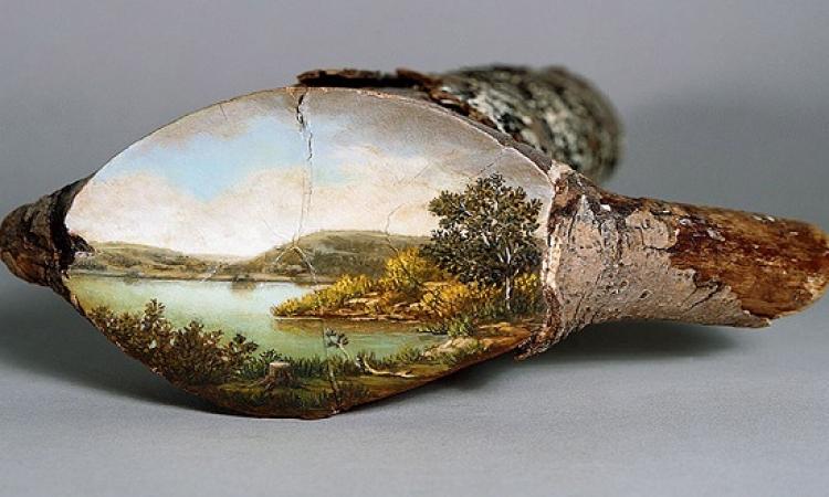 بالصور .. فنانة ترسم لوحات للطبيعة على جذوع الاشجار .. طبيعى فطبيعى !!
