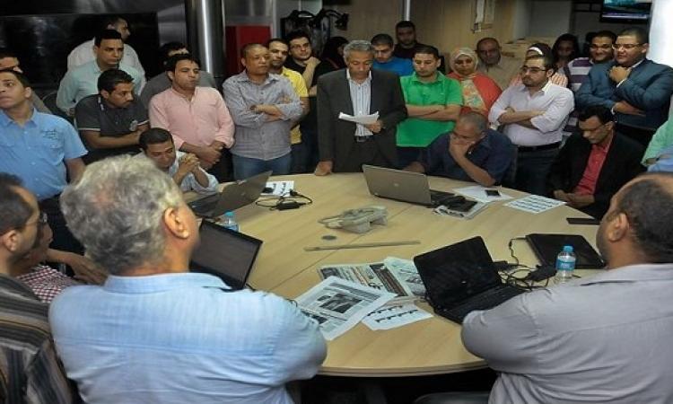 بالصور .. وقفة لصحفيين بالمصرى اليوم احتجاجاَ على اجراءات مجلس الادارة